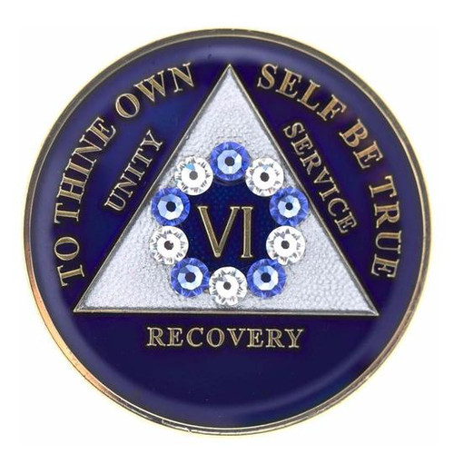 AA Blue Medallion W Blue/White Circle Bling (Years 1-60, 24HR, Monthly)