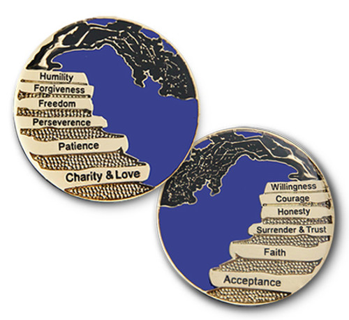 Principals behind the 12 steps of recovery. A perfect medallion to hold onto everyday to remind yourself of a better way to live. Free and one day at a time, just for today.