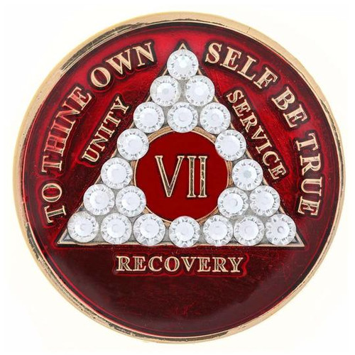 AA Red Medallion w White Triangle Bling (Years 1-65, 24HR, Monthly)