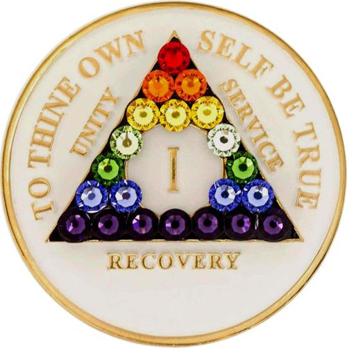 AA Glow in Dark Medallion w LGBT Triangle  Bling (Years 1-50)