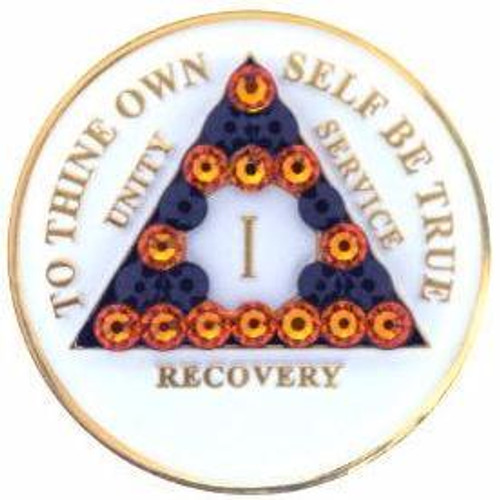 AA Glow in Dark Medallion w Orange/Black Triangle Bling (Years 1-50)
