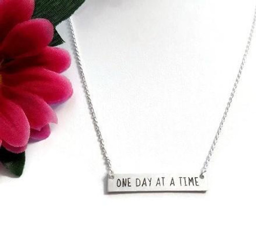 One Day At A Time Bar Necklace - Silver