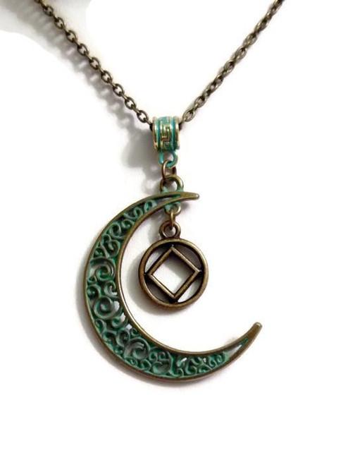 Moon Dangle Charm Necklace Bronze Patina NA