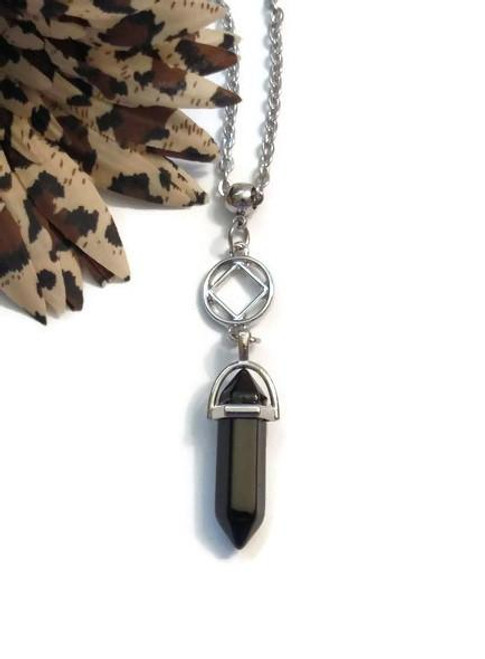 Black Onyx Drop Necklace - Narcotics Anonymous