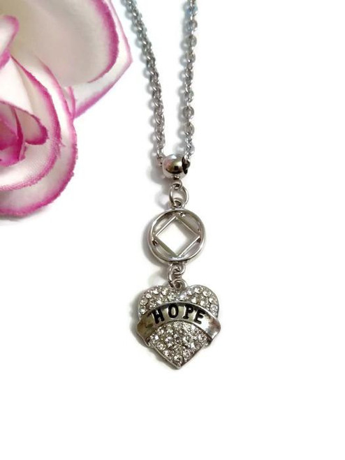 Crystal Hope Heart NA Necklace Narcotics Anonymous