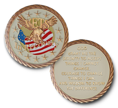 Gorgeous American Military Recovery Coin. Specialty for all the soldiers that serve and stay sober.