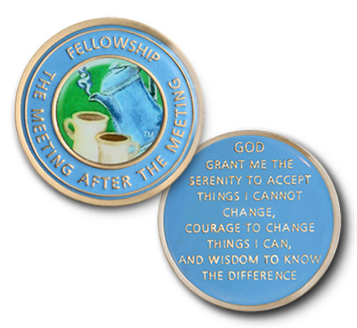 Fellowship Coin Tri-Plate Color Specialty Medallion - 3-D! The Meeting After The Meeting, Coffee Mug