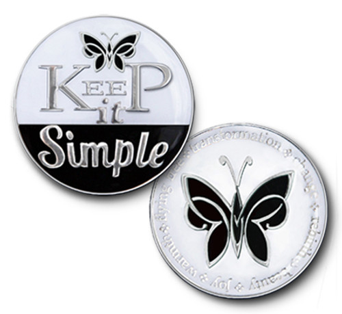 Keep It simple -aa, alcoholics anonymous, 12 step, twelve steps, hope, sponsor, gratitude, beautiful, enamel medallion, With Gratitude, Thanks, Big Book, Support, Mentor, Helping Hand, Knowledge, Strength, The perfect recovery gift