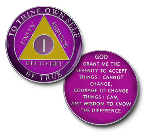 Amethyst Colored TRIANGLE  TRI-PLATE RECOVERY MEDALLION AA Alcoholics Anonymous Anniversary Coin 1-45 years, 24 hours, 18 months