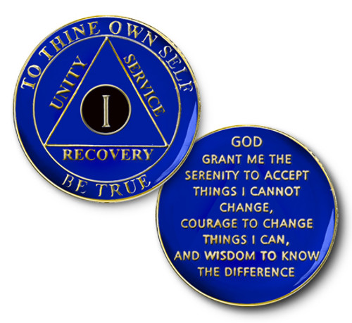 alcoholics anonymous aa, recovery medallion anniversary coin in midnight blue.