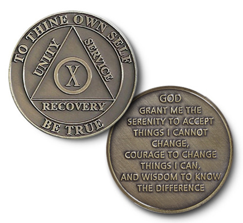 Bronze Meeting Coins for alcoholics anonymous, narcotics anonymous, meeting chips