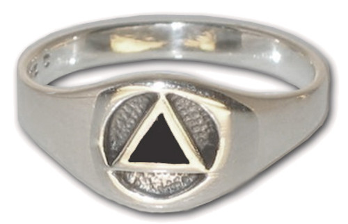 Sterling silver ring with onyx AA Alcoholics Anonymous symbol for the sober recovery community.