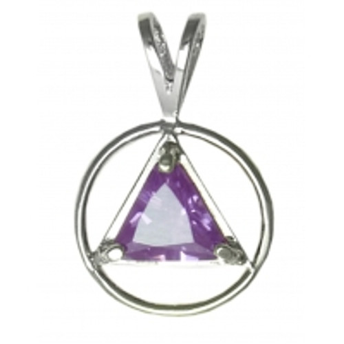 Style #564-1, Sterling Silver, Medium Size, Available in 12 Different 8mm Triangle Colored CZ Birthstones