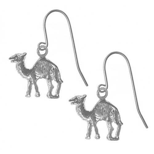 "Style #730-13, Sterling Silver Earrings, Adorable Camel ""Can go 24 Hours without a Drink"""