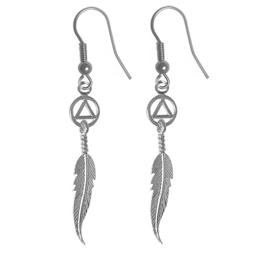 alcoholics anonymous earrings with feather for our sober girls!