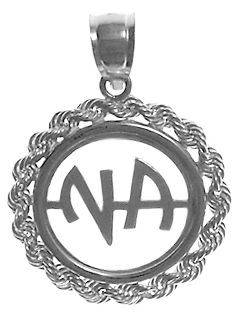 narcotics anonymous pendant in sterling silver roping