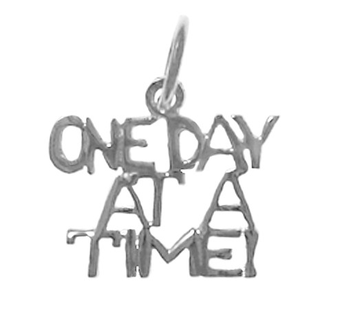 sterling silver, one day at a time necklace pendant