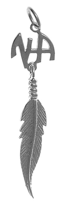 Style #483-11, Sterling Silver Pendant, NA Initials with a Single Feather