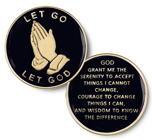 Let Go - Let God / Black Specialty Recovery Medallion for any program prayer on back.