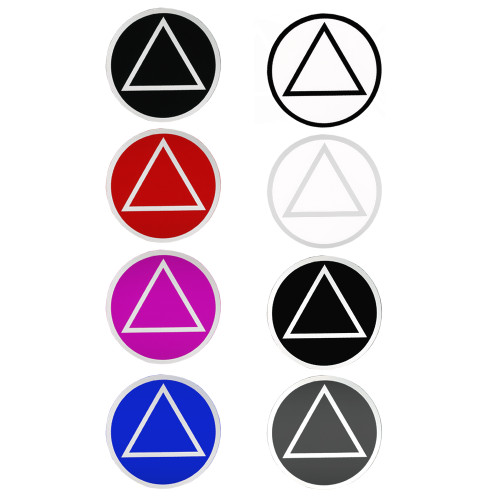 "Set of 8 3"" RS5 Round AA Recovery Symbol Stickers, All 8 Different Colors"