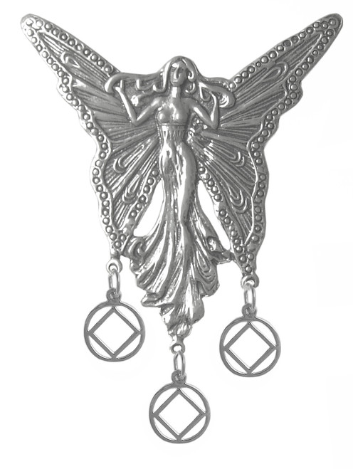 Style #1010, Sterling Silver, Beautiful Large Fairy with 3 Hanging NA Symbol Pendants