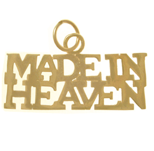"Style #458-15, 14k Gold, Sayings Pendant, ""MADE IN HEAVEN"""