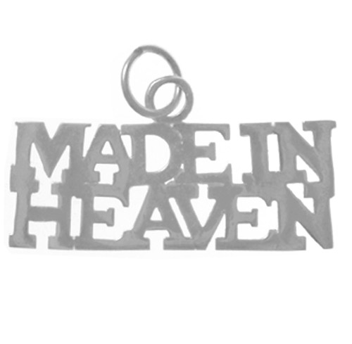 "Style #458-15, Sterling Silver, Sayings Pendant, ""MADE IN HEAVEN"""