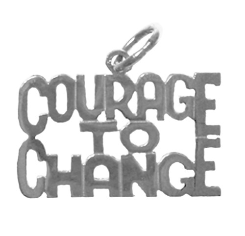 "Style #186-15, Sterling Silver, Sayings Pendant, ""COURAGE TO CHANGE"""