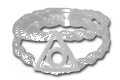Style #790-16, Sterling Silver, $25-$43, Family Recovery Symbol on a Open Rope Style Band