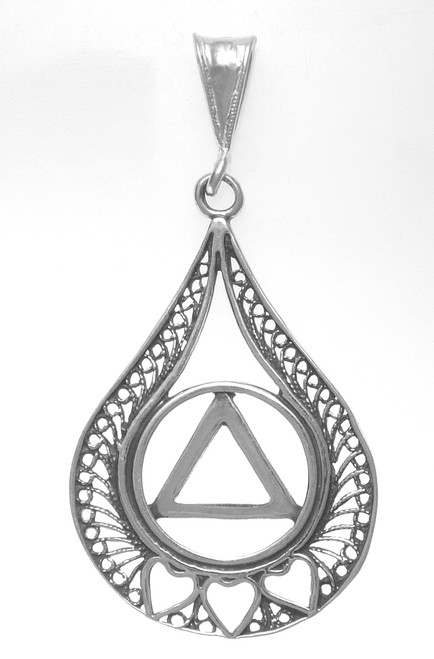 Style #833-3, Sterling Silver Pendant, AA Circle Triangle w/3 Hearts set in a Filigree Style Tear Drop