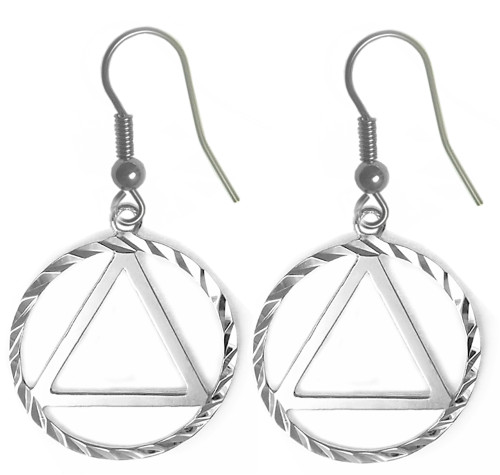 Style #704-6, Sterling Silver, AA Symbol Diamond Cut Earrings