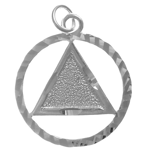 Style #13-1, Sterling Silver, Diamond Cut Circle Pendant with Textured Triangle, Large Size