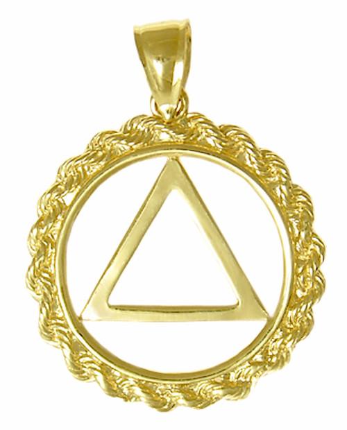 Style #307-2, 14k Gold, AA Symbol Pendant, Rope Style Circle, Medium Size