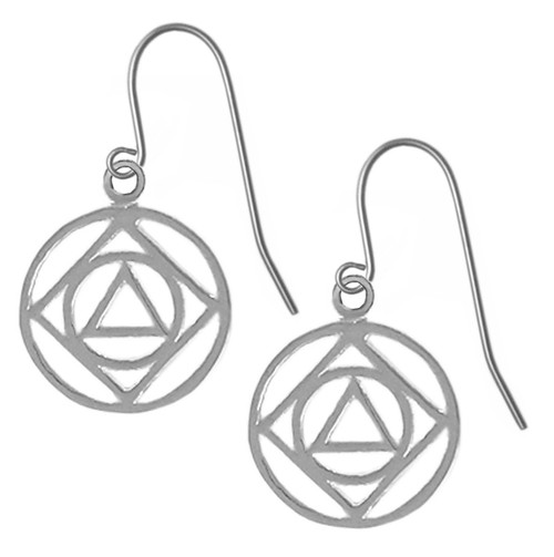 Style #852-13, Sterling Silver, AA & NA Anonymous Dual Symbol Earrings