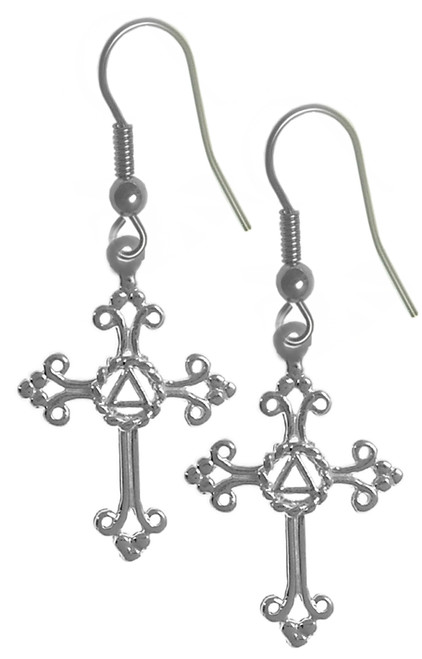 Style #1048, Sterling Silver Earrings, AA Symbol Set in a Open Cross