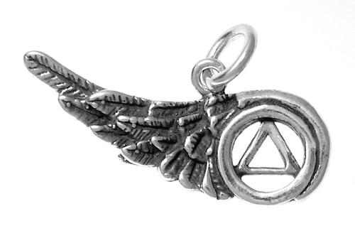 Style #818-5, Sterling Silver Pendant, AA Recovery Symbol on a Beautiful Angels Wing