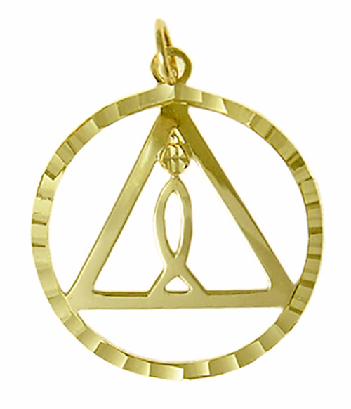 "Style #770-4, 14k GoldPendant, AA Recovery Symbol and ""IXOYE"" Symbol set inside the Triangle"