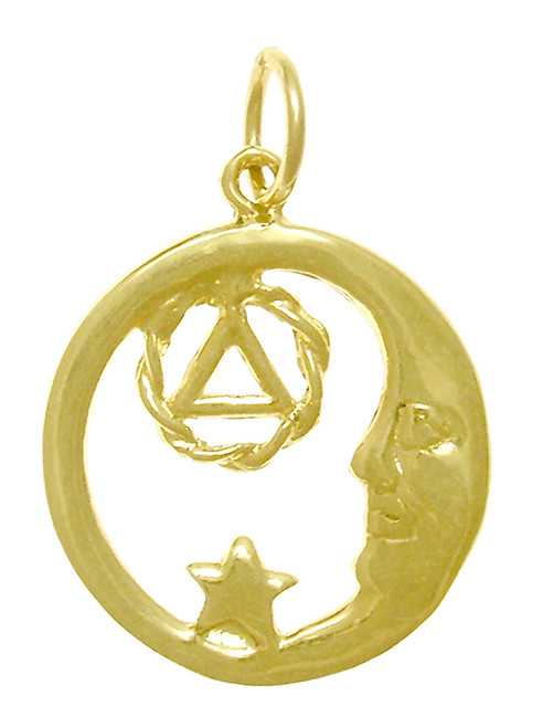 Style #399-3, 14k Gold, Moon and Star Pendant with AA Symbol, Medium Size