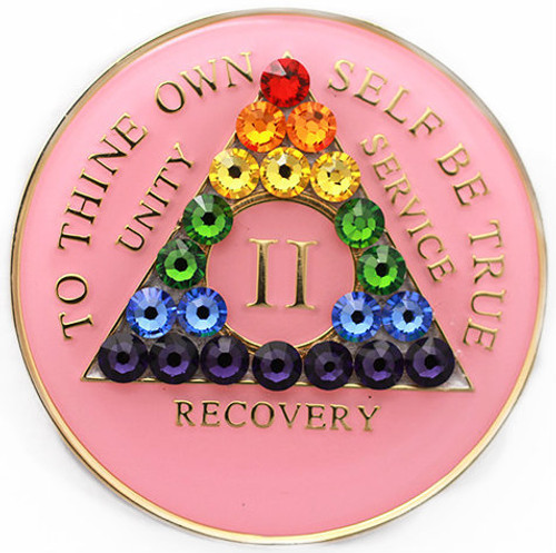 RAINBOW CRYSTALLIZED TRI-PLATE PINK AA Alcoholics Anonymous Anniversary Coin