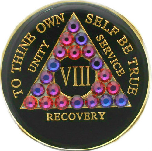 CRYSTALLIZED TRIPLATE BLACK & VOLCANO AA Alcoholics Anonymous Anniversary Coin
