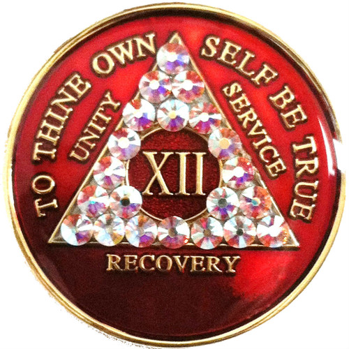 RED BLING TRI-PLATE MEDALLION WITH SWAROVSKI CRYSTALS AA Alcoholics Anonymous