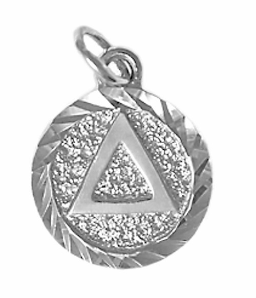 Style #17-2, Sterling Silver, Triangle in Solid Textured Coin Style Circle w/Diamond Cut Accents, Small Size
