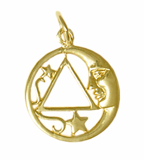 Style #888-3, 14k Gold, Moon and Star Pendant with AA Symbol, Medium Size