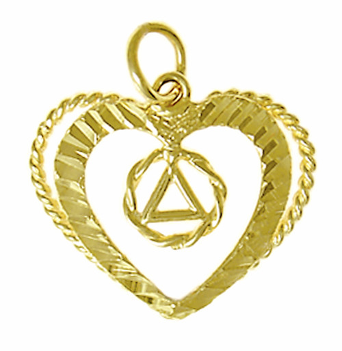 Style #393-4, 14k Gold Pendant, AA Symbol in a Small Twist Wire Circle in a Open Heart