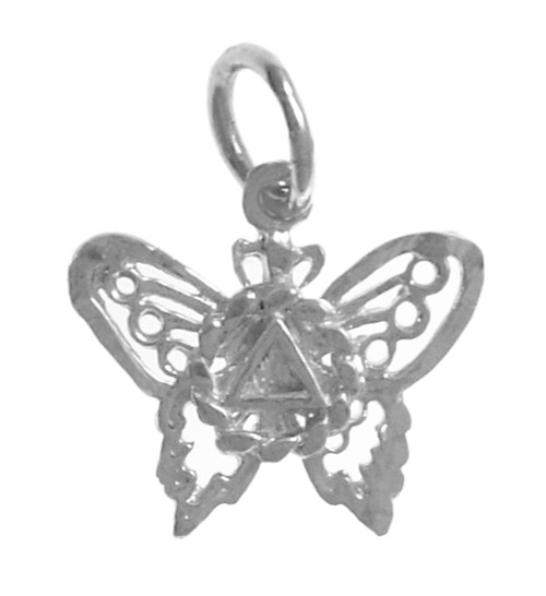 Style #978, Sterling Silver Pendant, AA Symbol on a Small Beautiful Butterfly