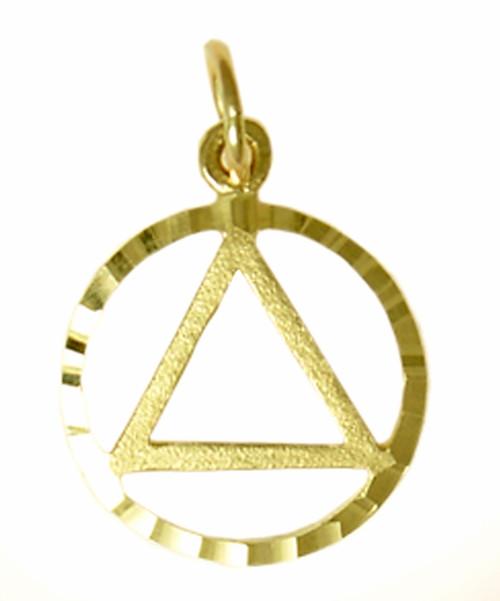 Style #577-1, 14k Gold Pendant, AA Circle Triangle in a Diamond Cut Circle, Medium Size