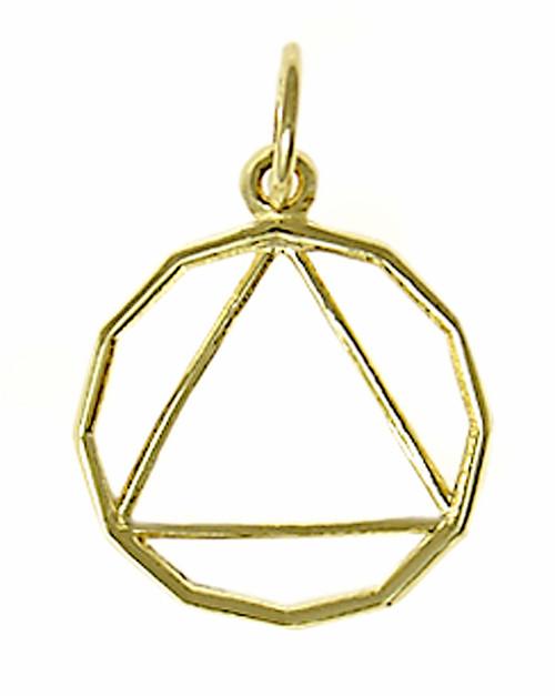 Style #454-2, 14k Gold, 12 Sided Circle Triangle Pendant, Medium Size