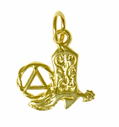 Style #461-5, 14k Gold Pendant, AA Recovery Symbol with a Cowboy Boot