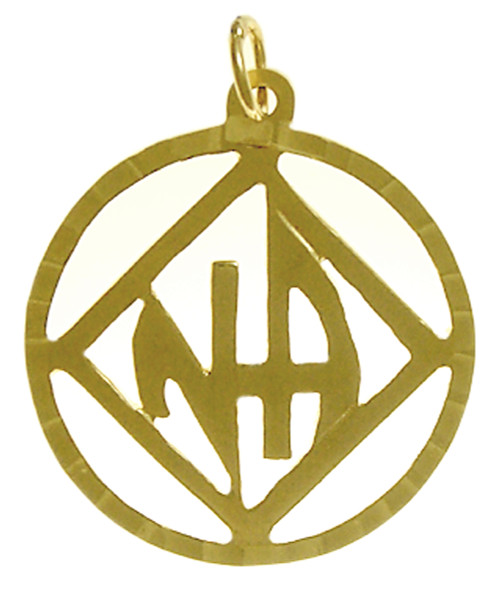 """Style #558-11, 14k Gold Pendant, NA Symbol with """"NA"""" Initials inside square, Diamond Cut Accents"""