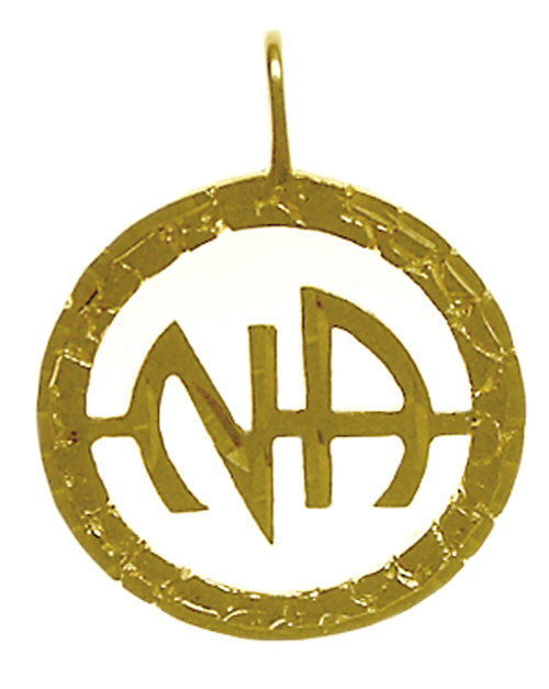 """Style #559-11, 14k Gold, """"NA"""" Initials Pendant, Diamond Cut Accents"""